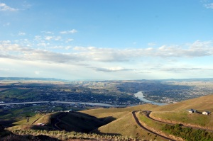 Where the Clearwater River (left) joins the Snake River, at 6AM