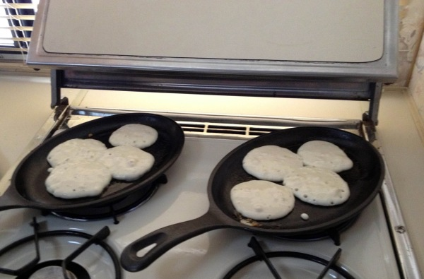 Hotcakes right off the stove!